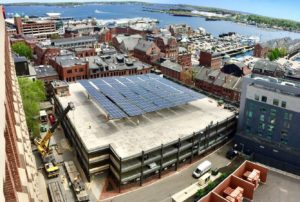 Aerial photo of 425 Fore Street parking garage solar array