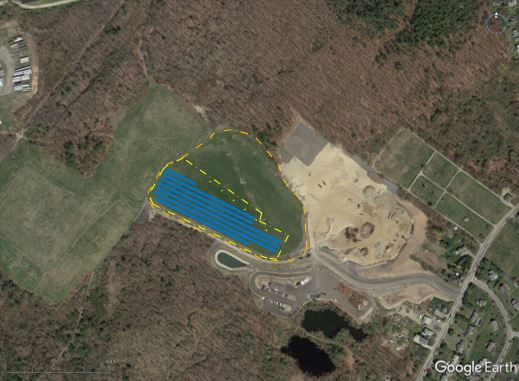 A rendering of the megawatt solar project to be installed by ReVision Energy on a capped landfill in South Portland