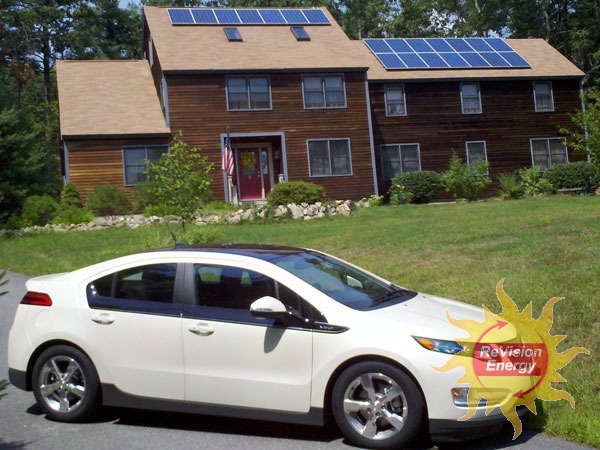 The Chevy Volt of Evan Sohm, owner of a solarized home in Londonderry, NH