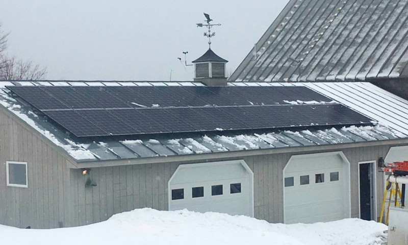Solar panels installed on a home in New Vineyard, Maine
