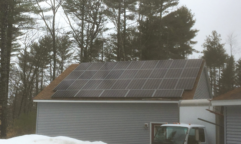 Solar panels installed at a home in Shapleigh, Maine