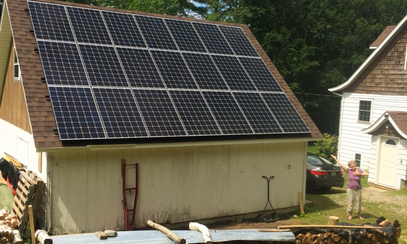 Solar panels installed at a home in Whitefield, New Hampshire