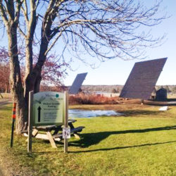 fleet of dual-axis solar trackers at Maine Audubon's campus in Gilsland Farm
