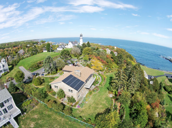 Image of a home in Cape Elizabeth, ME that is powered by solar electricity and backed up by a battery from Pika Energy