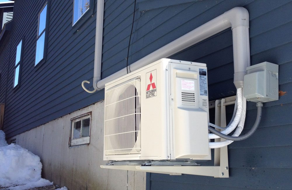 Outdoor Mitsubishi Heat Pump Unit Greene Me Revision