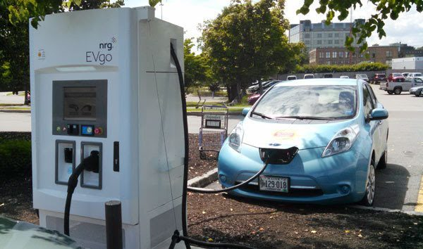 Hannaford Maine electric vehicle super charging station