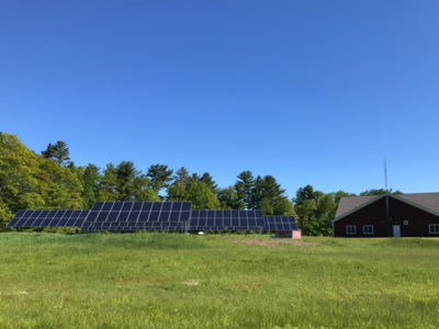The 140 solar panels installed for the Town of Lincolnville will generate an estimated 52,485 kilowatt-hours of clean electricity each year, reducing carbon pollution by over 50,000 lbs annually. In all, the system will cover 91% of the town's electrical load. Photo courtesy Greta Gulezian.