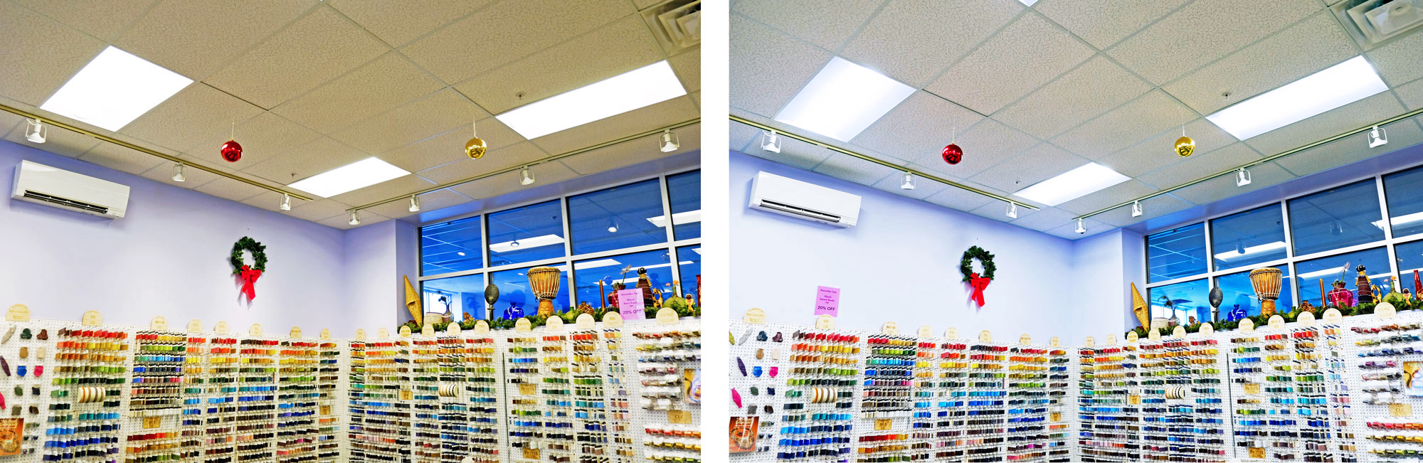 Caravan Beads before/after LED showroom lighting