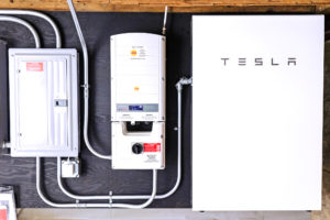 A home battery backup system powered by a Tesla Powerwall, installed by ReVision Energy