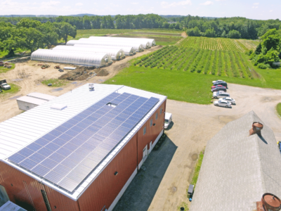 Aerial photography of solar project at Farmer Dave's, Dracut, MA