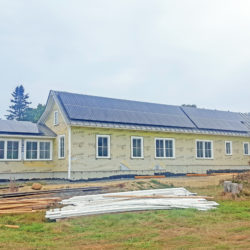 Rooftop solar array on new construction Southern Harbor House in North Haven, ME