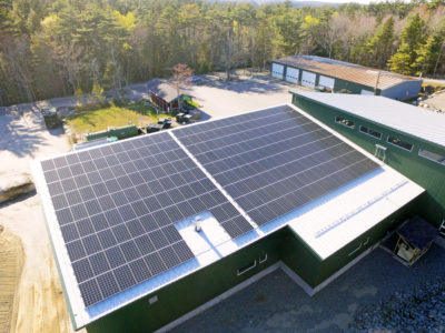 Rooftop solar array on the Mount Desert, ME town garage
