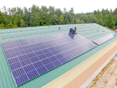 Solar array on the Town of Sebago, ME Salt Shed