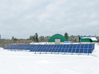 Ground mount solar array at the Town of Shapleigh, ME Salt and Sand Facility