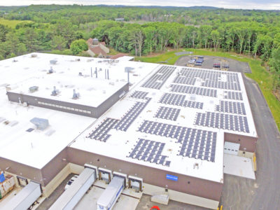 Rooftop solar array at UFP Technologies Headquarters in Newburyport, MA