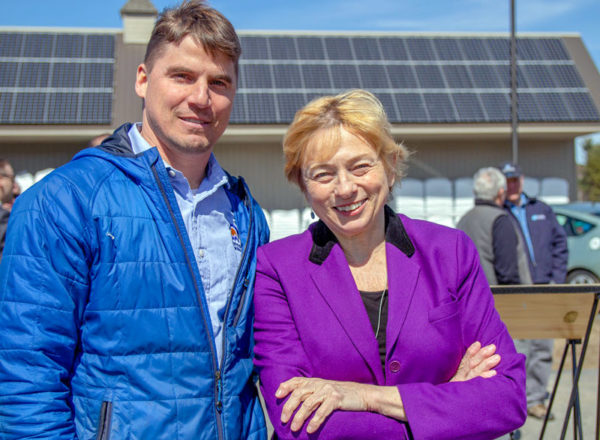 Fortunat Mueller and Janet Mills at Signing of LD91 eliminating Gross Metering