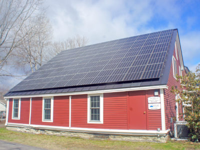 Rooftop solar array at the Red Brick House/Smith Law in Brunswick, ME