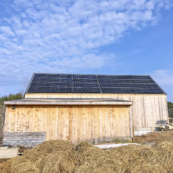 Rooftop solar array on the Wolfe's Neck Center Pote Barn