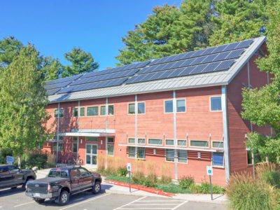 Rooftop solar array at Cascon, Inc's Yarmouth, ME business office.