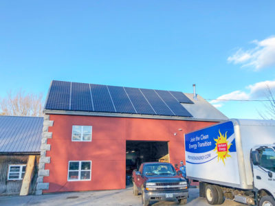 Rooftop solar array at Whatley Farm in Topsham, ME
