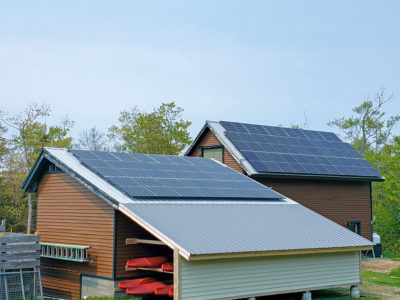 Rooftop solar array at AMC's Highland Center Lodge in Bretton Woods, NH