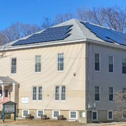 Rooftop solar array at Federated Church of Marlborough's Community House in Marlborough, NH