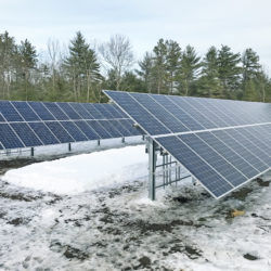 Ground-mounted solar array at the North Berwick Water District in Maine