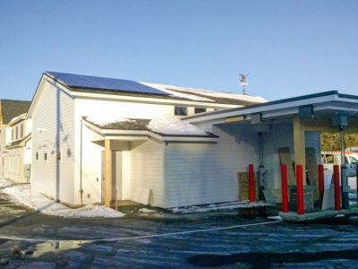 Rooftop solar array on sustainably designed Savings Bank of Walpole in Keene, NH