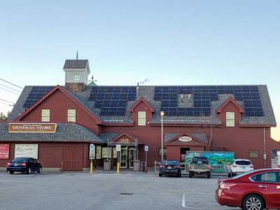 Solar array on the roof of the Common Man Roadside at the Hooksett Welcome Centers in NH